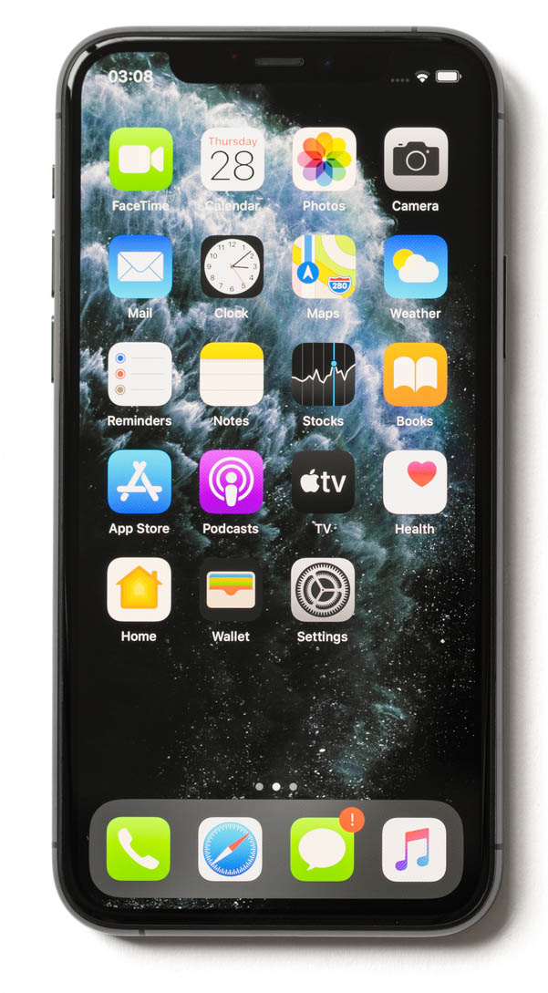 Apple iPhone 11 Pro mobile phones showing locked screen, home screen with icons and back side